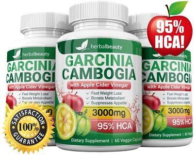 3 X Herbal Beauty Garcinia Cambogia 95    Apple Cider Vinegar Weight Loss 3000Mg