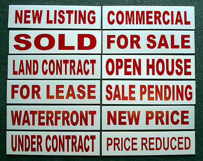 12  6 X 24 Real Estate Sign Riders 2 Sided Outdoor New-- Free Shipping