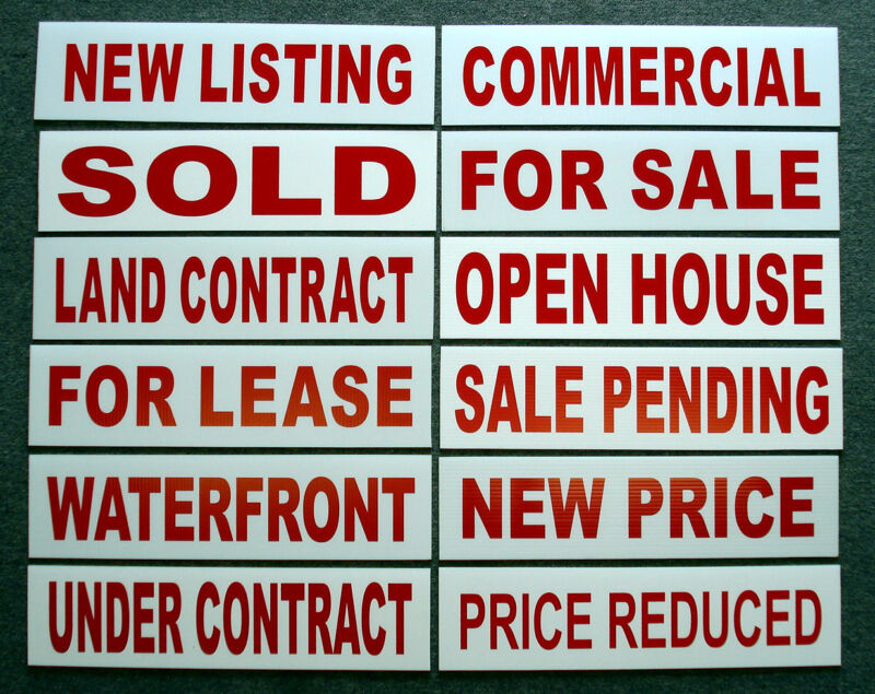 (12)   6 x 24 Real Estate Sign Riders 2 sided Outdoor NEW-- FREE SHIPPING!