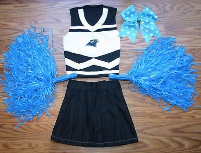 CHEERLEADER COSTUME OUTFIT CAROLINA PANTHERS POM POMS BOW UNIFORM 2 3 XS KIDS - Panthers Cheerleader Costume