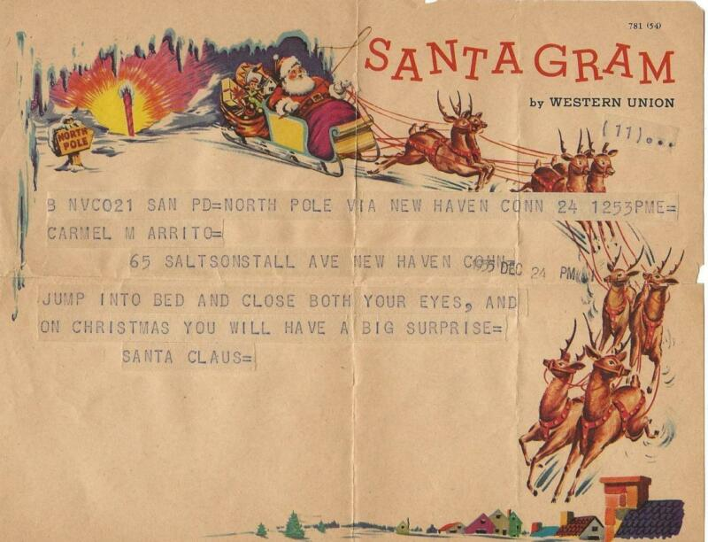 1955 SANTA GRAM FROM NORTH POLE TO NEW HAVEN (FAIR HAVEN) CONNECTICUT 12-24-1955