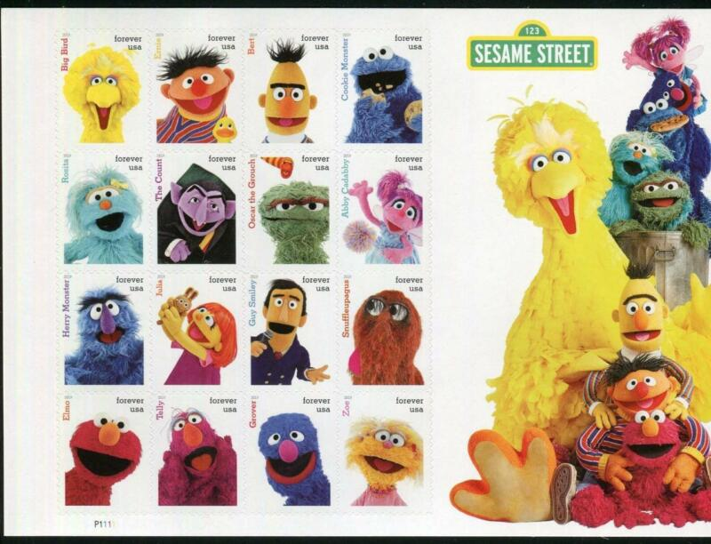 117 #5390 Sesame Street MNH complete sheet of 16 Stamps. FREE SHIPPING IN USA!!