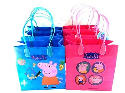 Peppa pig 12pcs Resuable Plastic Party Favors Goodie Gift Bags (Peppa Pig Gift Bags)