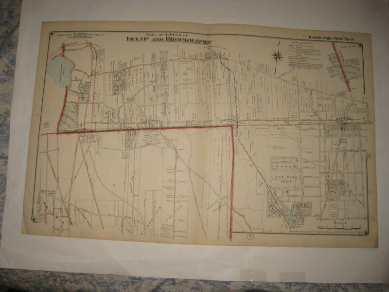 ANTIQUE 1915 ISLIP BROOKHAVEN HOLBROOK BOHEMIA MEDFORD NEW YORK LONG ISLAND MAP
