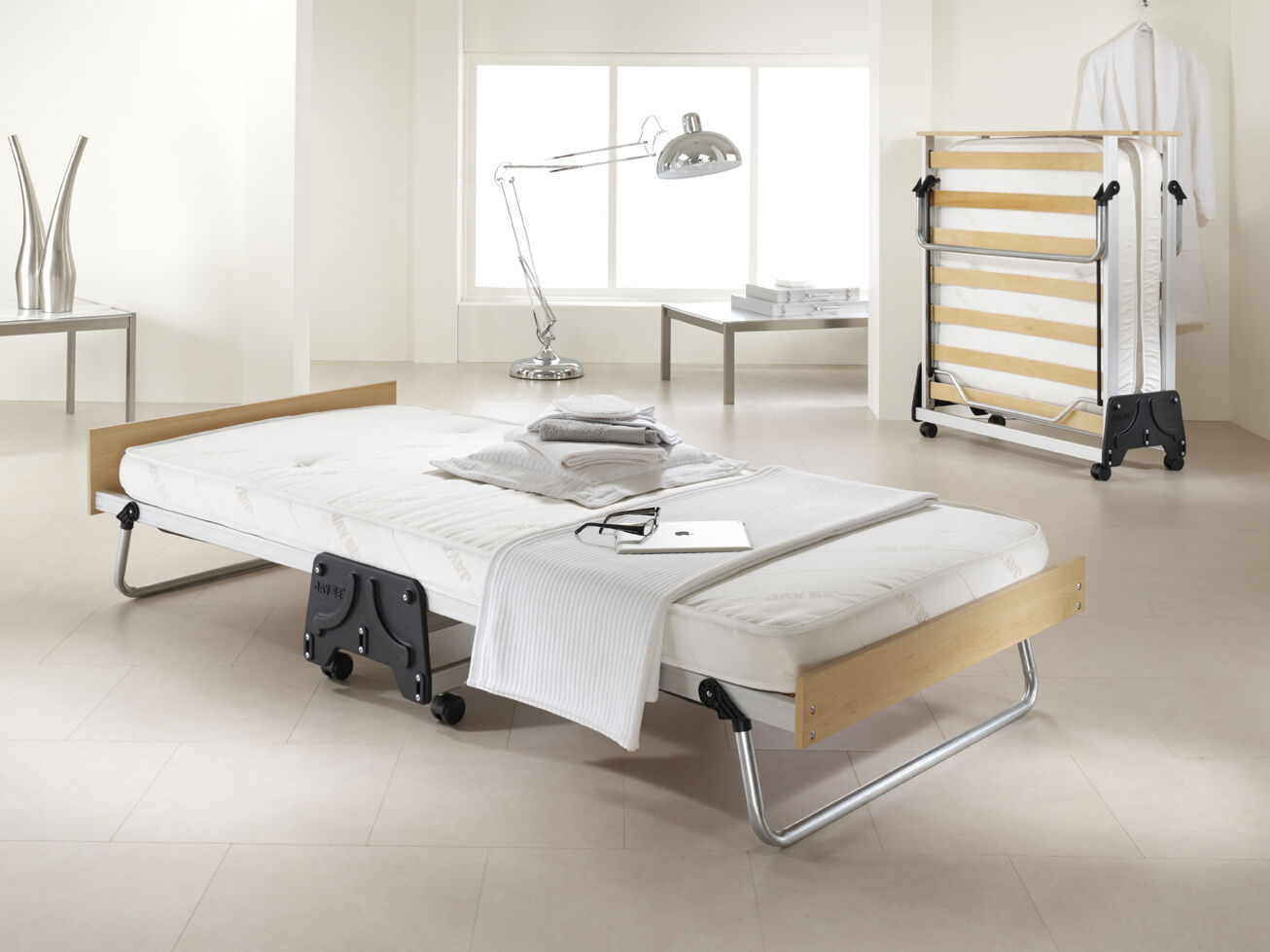 - Jay Be J Bed Power Airflow Folding Single Guest Bed With Airflow Fibre  Mattress EBay