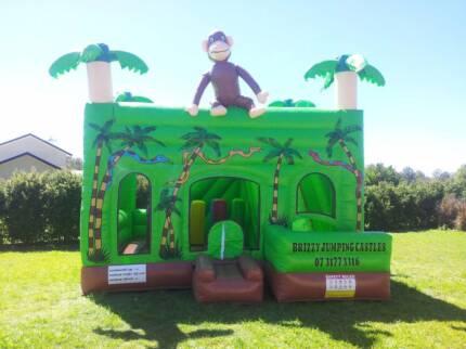 Jungle Themed Jumping Castle Combo & Slide For Sale