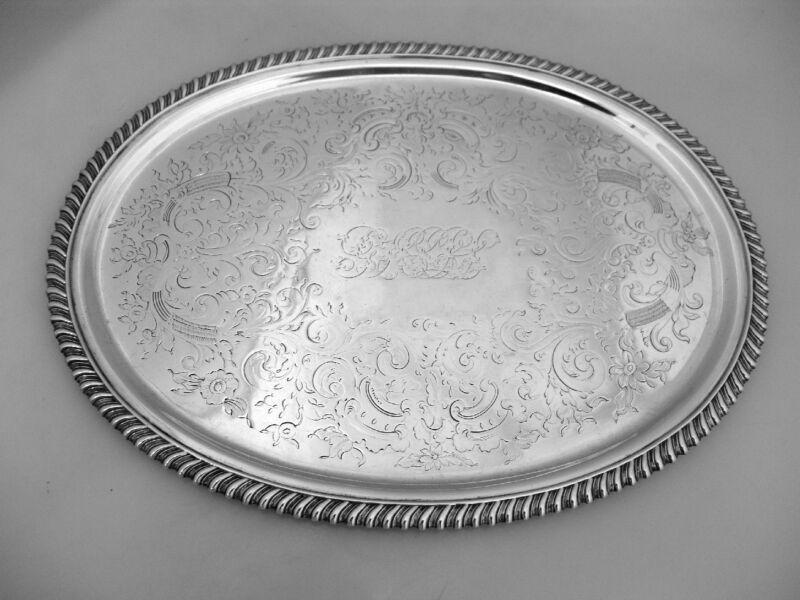 American Coin Silver Salver Oval 1850
