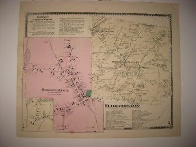 ANTIQUE 1870 HUBBARDSTON WORCESTER COUNTY MASSACHUSETTS MAP SUPERB COND. RARE NR
