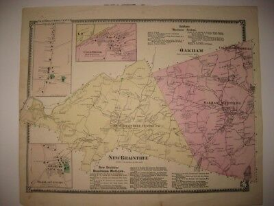 ANTIQUE 1870 NEW BRAINTREE OAKHAM WORCESTER COUNTY MASSACHUSETTS HANDCOLORED MAP
