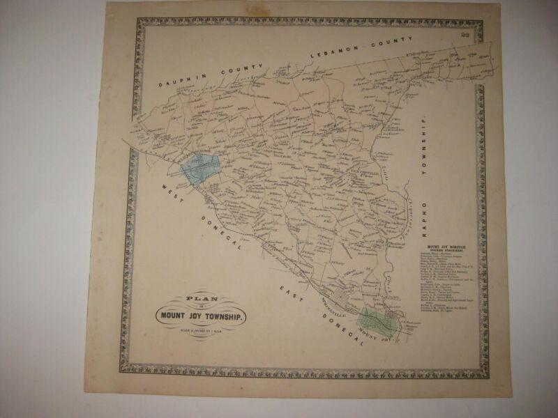 ANTIQUE 1864 MOUNT JOY TOWNSHIP ELIZABETHTOWN MOUNT JOY PENNSYLVANIA HANDCLR MAP