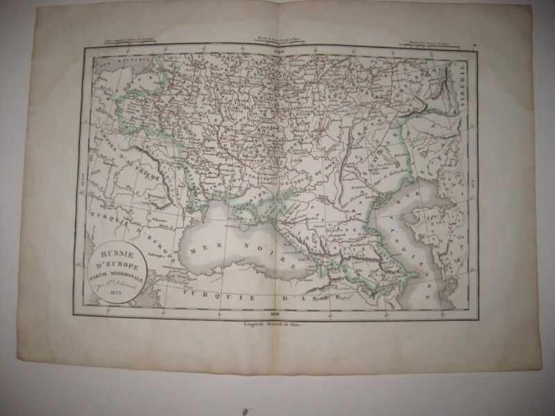 ANTIQUE 1834 SOUTH RUSSIA IN EUROPE BLACK SEA CIRCASSIA DATED HANDCOLORED MAP NR