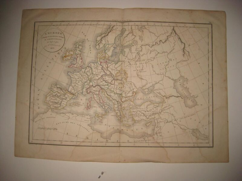 ANTIQUE 1834 EUROPE CHARLEMAGNE EMPIRE MAP DARK AGES FRANCE GERMANY ITALY RARE