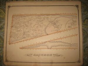 ANTIQUE 1875 JACKSON MIFFLIN TOWNSHIP DAUPHIN COUNTY PENNSYLVANIA HANDCOLOR MAP