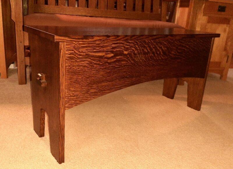 Dovecote Woodworking quartersawn oak bench Arts & Crafts Craftsman mortise tenon