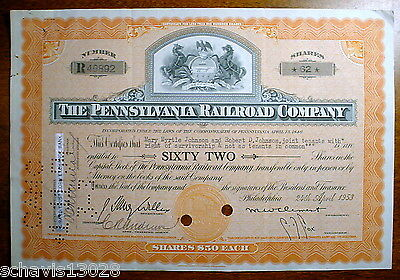 Pennsylvania Railroad Company PRR 62 Shares 1953 RR Stock Certificate Johnson