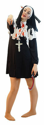 HALLOWEEN/Horror/Zombies/Fancy Dress BLACK EVIL ZOMBIE NUN Ladies Costume 10-42