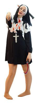 HALLOWEEN/Horror/Zombies/Fancy Dress BLACK EVIL ZOMBIE NUN Ladies Costume 10-42 - Evil Nun Halloween