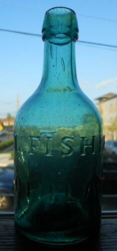 Light Green Iron Pontil L. Fisher Philadelphia Squat Soda Porter & Ale Bottle