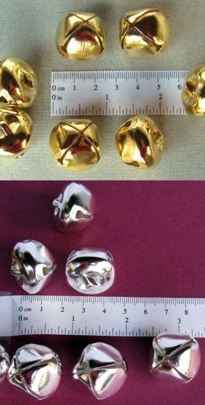 "200 Bright Shiny JINGLE Metal Craft BELLS ~ 25mm (1"") 100 SILVER + 100 GOLD Mix"