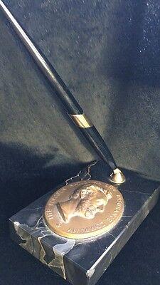 Vintage Lincoln National Life Insurance Co  Bronze Marble Pen Holder Desk Office