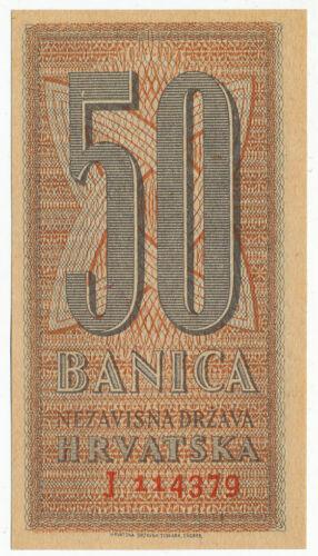 CROATIA, HRVATSKA - 50 Banica 25. 9. 1942. P6, UNC (C006)
