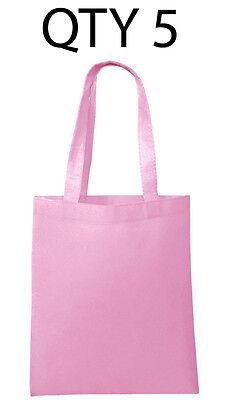Cheap Reusable Bags (Lot 5 Tote Bag Reusable Pink Shopping Grocery Travel Cheap Bulk Wholesale)