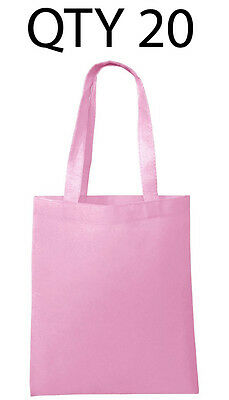 Lot 20 Tote Bag Reusable Pink Shopping Grocery Travel Cheap Bulk Wholesale NEW