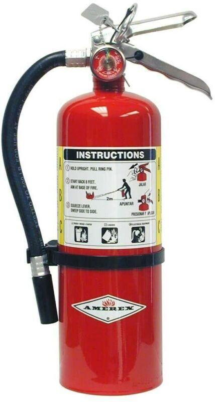 Amerex B402, 5lb ABC Dry Chemical Class A B C Fire Extinguisher, Wall Bracket