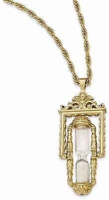 1928 Jewelry - Gold-tone Glass & Sand Workable Hourglass