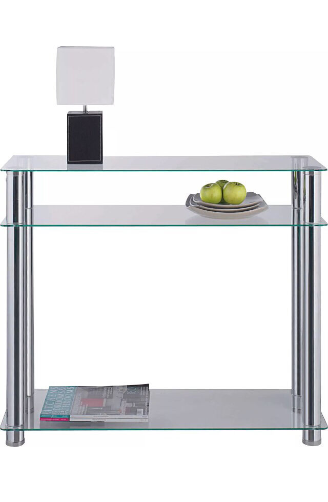New Hygena Clear GlassStainless Steel Matrix Console Table, New in box, Was85, Sell40in Partick, GlasgowGumtree - New Hygena Clear Tempered Glass & Chrome Stainless Steel Console Table New Sealed Box. Was £85, Sell £401 Clear GlassA Beautiful Quality Finish. Brand NewStill in unopened BoxVarious uses, TV table, Console, H76cmW90cmD30cmWeight 14.9kg ( Heavy Box...
