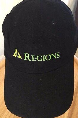 Regions Bank Ball Cap Hat Black Green Print New Cotton Adjustable   Df