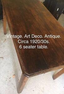 Art Deco timber table 6 seater Beaumaris Bayside Area Preview
