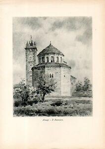 Stampa-antica-ARSAGO-SEPRIO-Battistero-Pieve-San-Vittore-Varese-1932-Old-print