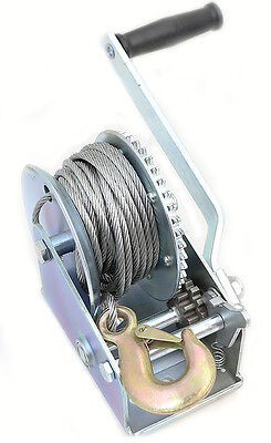 Zinc Plated Heavy cable Steel  2000 lbs gear hand winch towing boat trailer