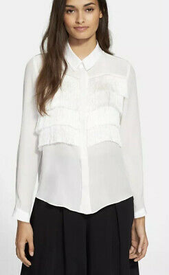 NWT  Rebecca Taylor Fringe Silk Blouse in Ivory  Size 0 $350 Style 315019B020