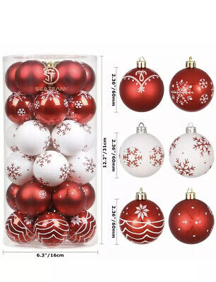 Luxury Christmas Tree Baubles Red White Snowflake Ornaments 6cm 30 Pieces ()