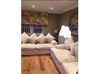 Sofas DFS 4Seater & 3Seater cream duck filled very good condition collection only Islington London