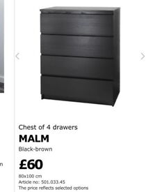 Chest of 4 Drawers MALM- Black-brown colour with Glass Top (ONLY £50.00)