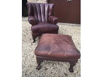 TETRAD Blake ball and claw leather armchair and footstool