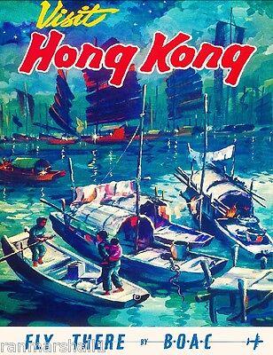 Hong Kong China Chinese Asia Asian Vintage Travel Advertisement Art Poster Print