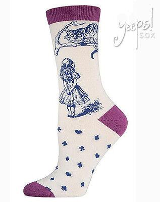 Cheshire Cat Crew Socks - Socksmith Bamboo Alice in Wonderland novelty socks
