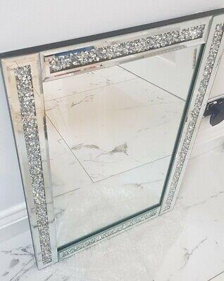 BNIB KARINA BAILEY Crystal Filled Diamond Crush Jewel Silver Mirror, 40cm x 60cm