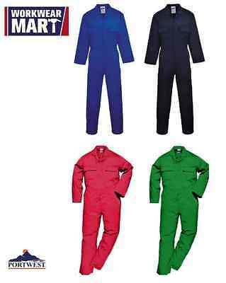 Portwest S999 Euro Work Polycotton Coverall in Red, Navy, Royal & Bottle Green