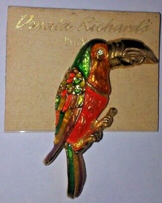 Vintage DON-LIN Toucan Pin Brooch Parrot Donald Richard's