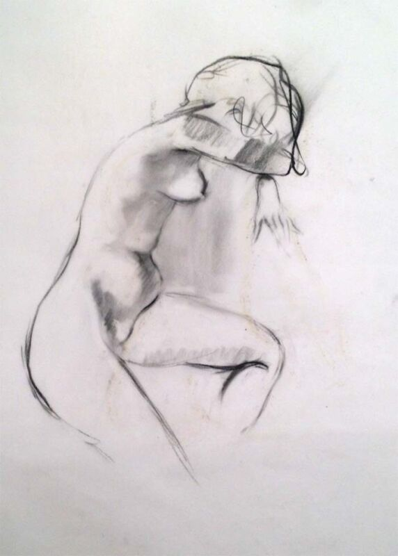 """Julian Ritter - """" Nude Lady - 10 """" Charcoal on Vellum 19""""x 23"""" Un-Signed- 269"""