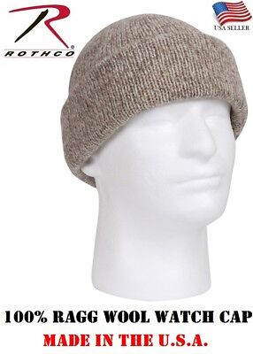 100 % Wool Knit Ragg Wool Watch Cap Heavy Weight Thick Winter Cold Weather 5646 Wool Skull Cap