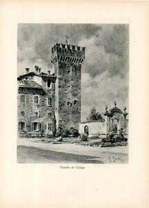 Stampa-antica-veduta-CASTELLO-di-CISLAGO-Varese-1932-Old-print