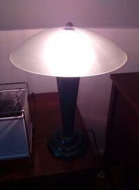 Table Lamp with frosted shade and green wooden base