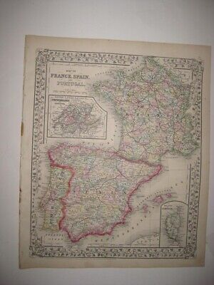 ANTIQUE 1872 FRANCE SPAIN PORTUGAL MITCHELL MAP GRAPE ORNATE BORDER WINE REGIONS France Wine Region Map