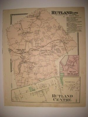 ANTIQUE 1870 RUTLAND NEW BOSTON WORCESTER COUNTY MASSACHUSETTS HANDCOLORED MAP